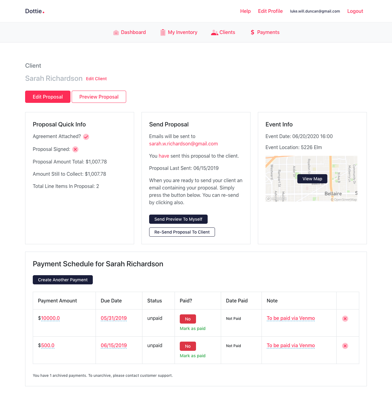 Client dashboard page